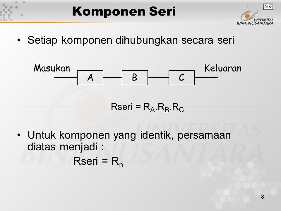Komponen Seri Setiap komponen dihubungkan secara seri