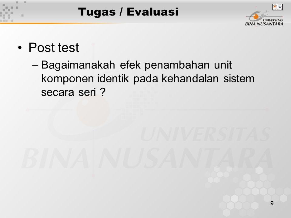 Post test Tugas / Evaluasi