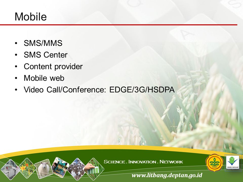 Mobile SMS/MMS SMS Center Content provider Mobile web