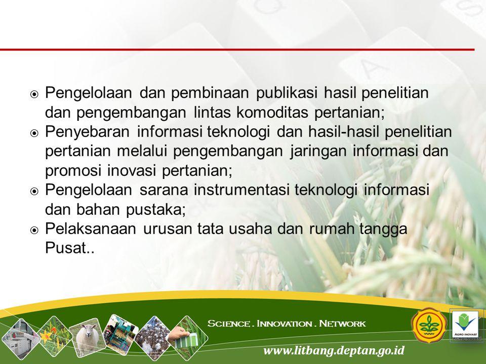 Pengelolaan dan pembinaan publikasi hasil penelitian dan pengembangan lintas komoditas pertanian;