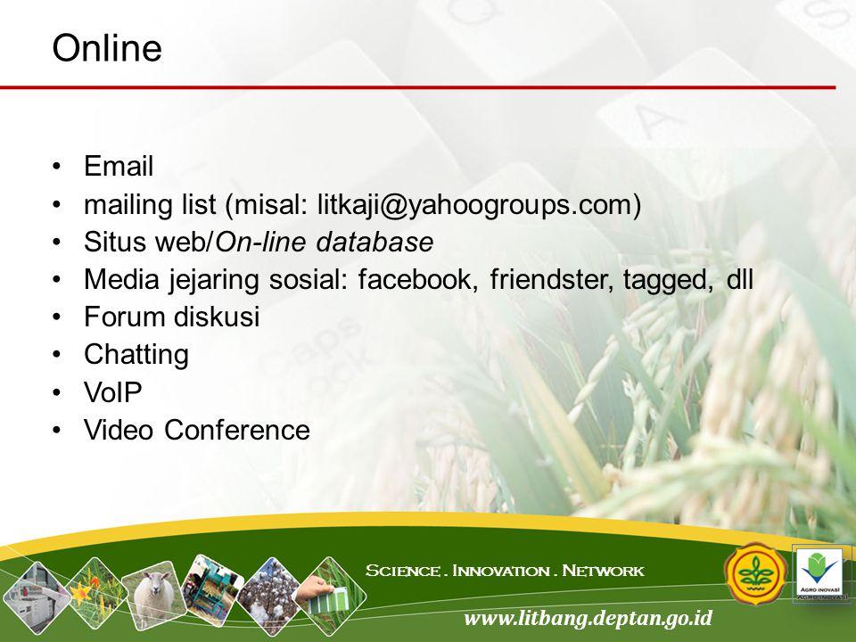 Online Email mailing list (misal: litkaji@yahoogroups.com)