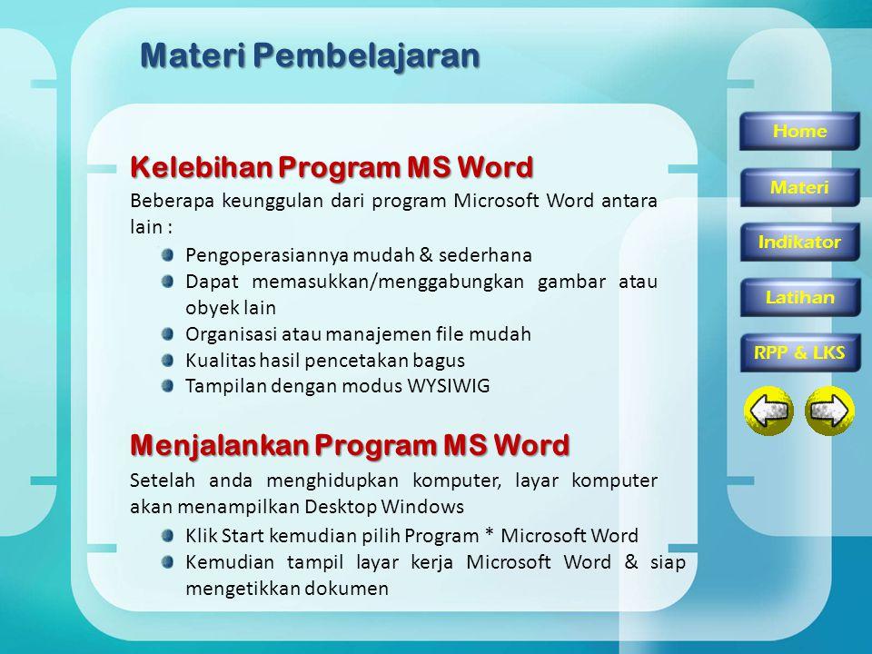 Materi Pembelajaran Kelebihan Program MS Word