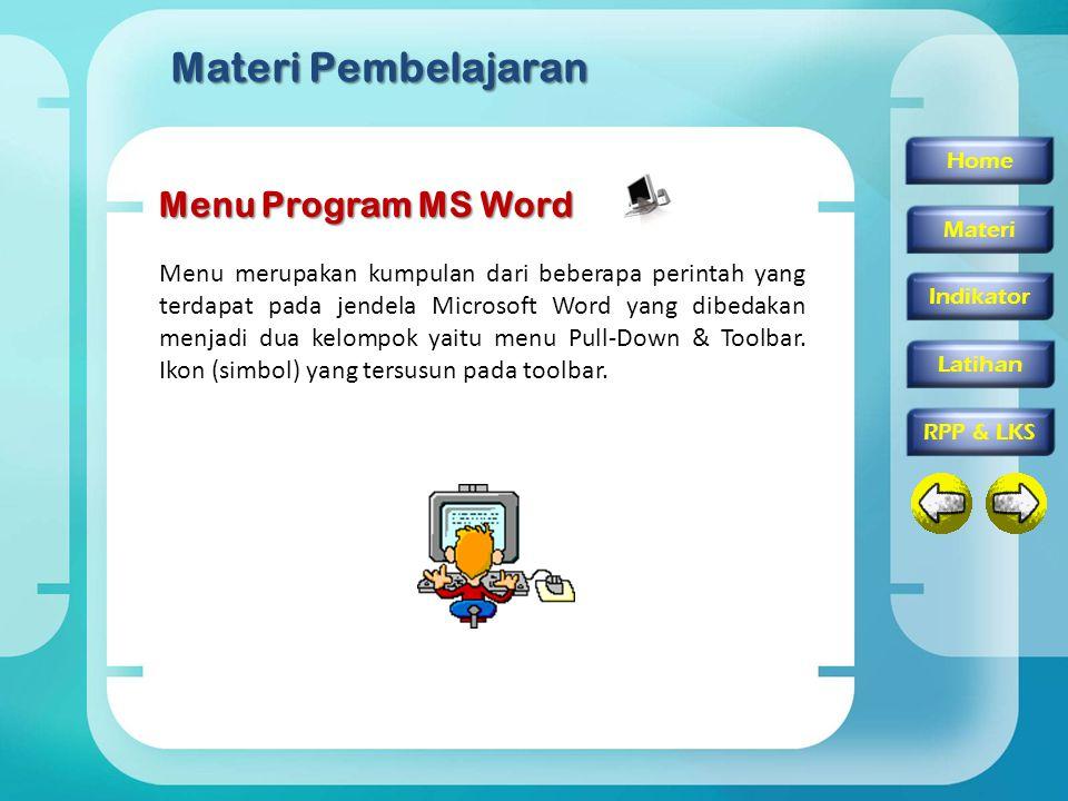 Materi Pembelajaran Menu Program MS Word