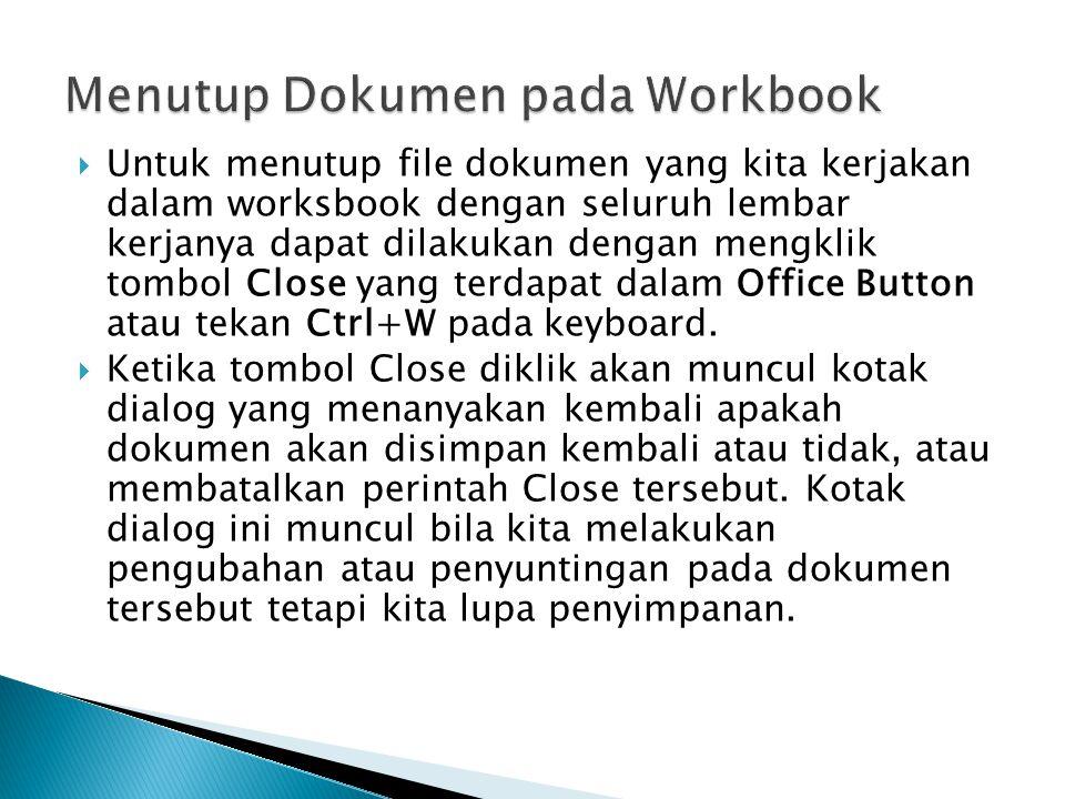 Menutup Dokumen pada Workbook