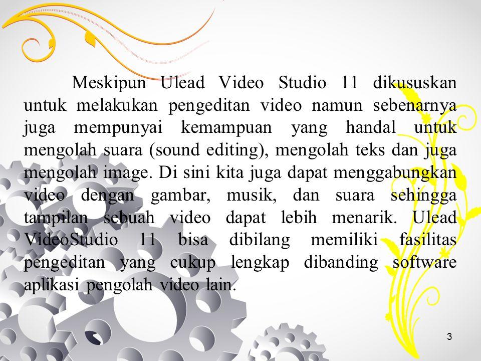 Meskipun Ulead Video Studio 11 dikususkan untuk melakukan pengeditan video namun sebenarnya juga mempunyai kemampuan yang handal untuk mengolah suara (sound editing), mengolah teks dan juga mengolah image.