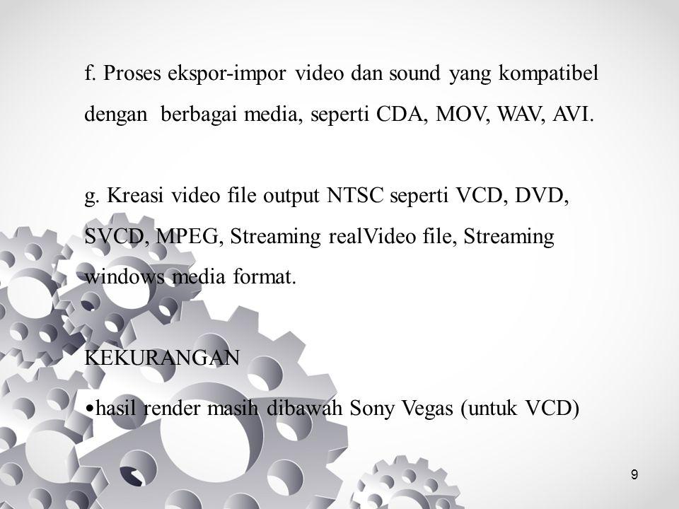 f. Proses ekspor-impor video dan sound yang kompatibel dengan berbagai media, seperti CDA, MOV, WAV, AVI.