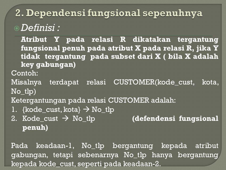 2. Dependensi fungsional sepenuhnya