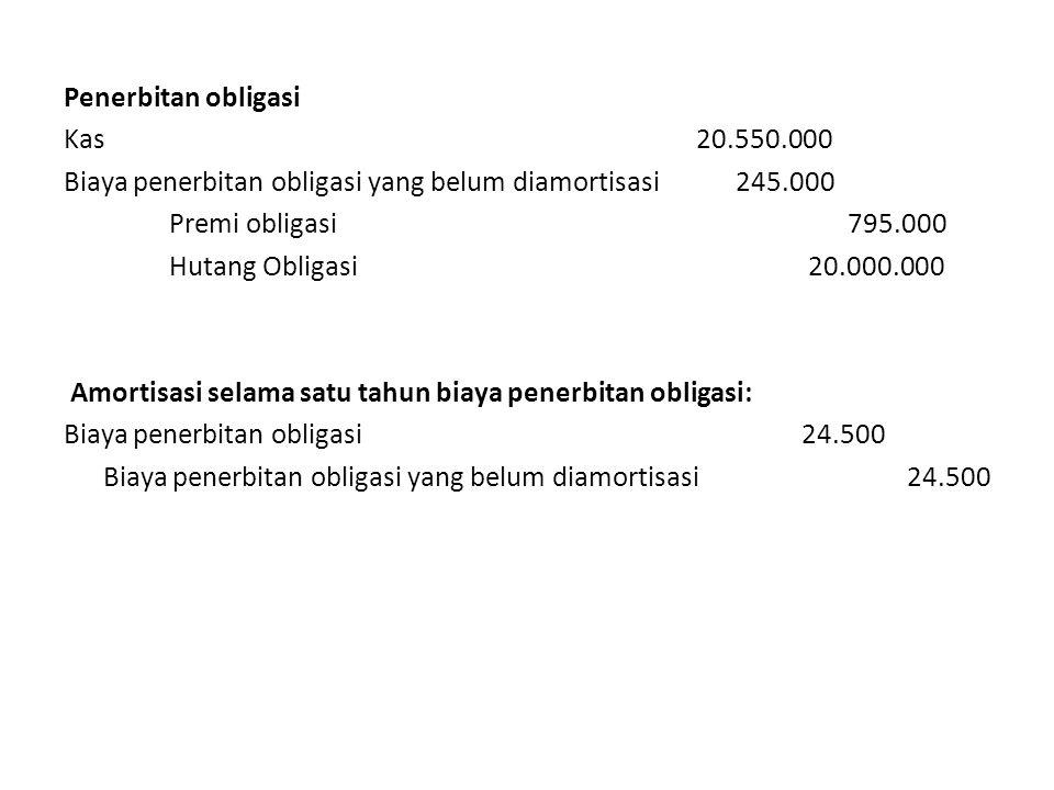 Penerbitan obligasi Kas 20. 550