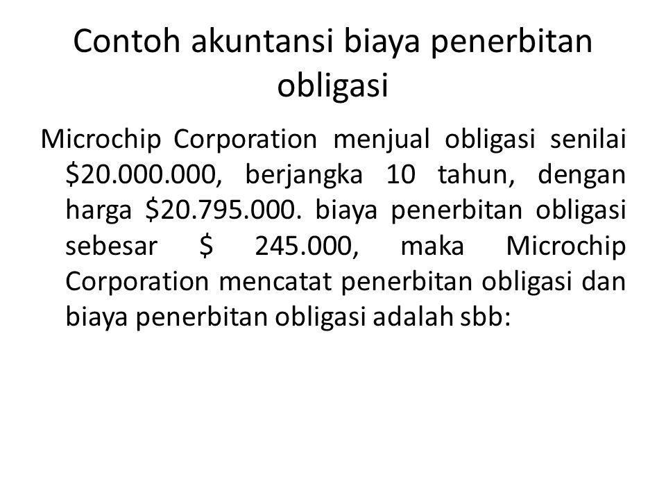 Contoh akuntansi biaya penerbitan obligasi