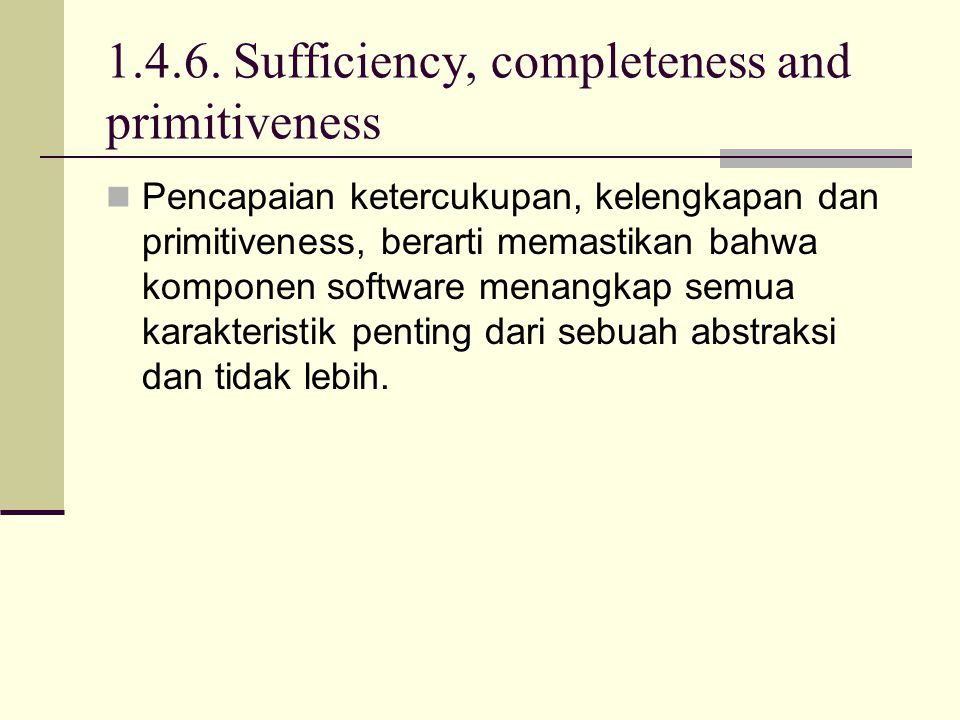 1.4.6. Sufficiency, completeness and primitiveness