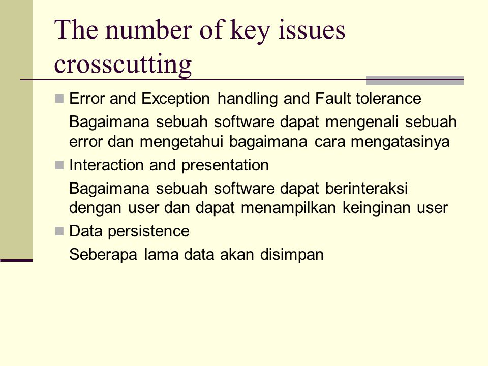 The number of key issues crosscutting