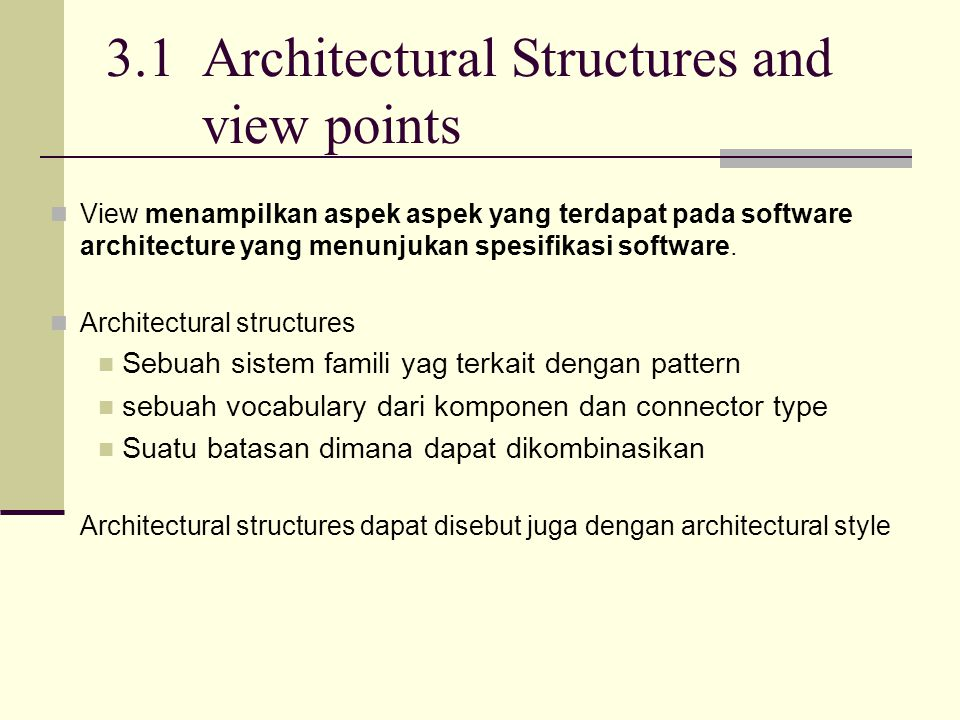 3.1 Architectural Structures and view points