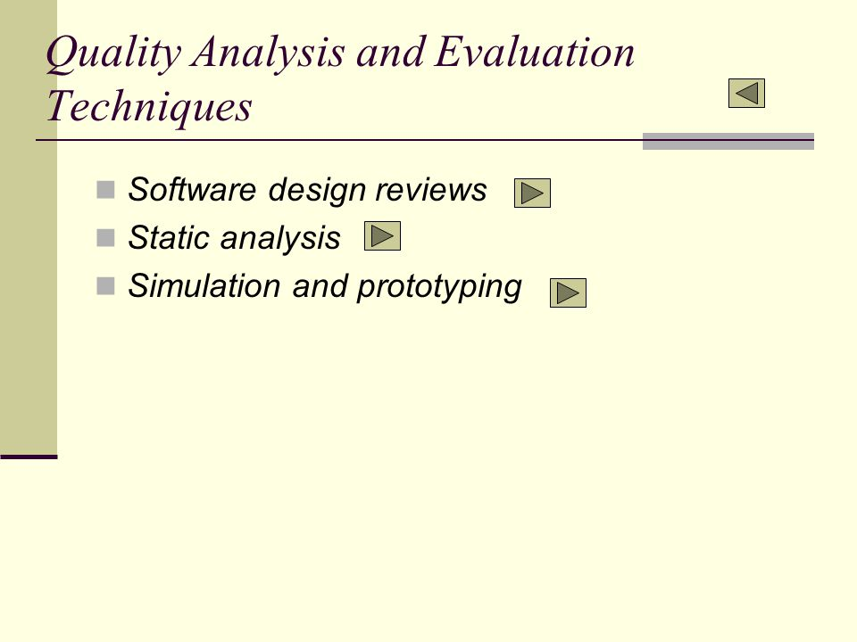 Quality Analysis and Evaluation Techniques