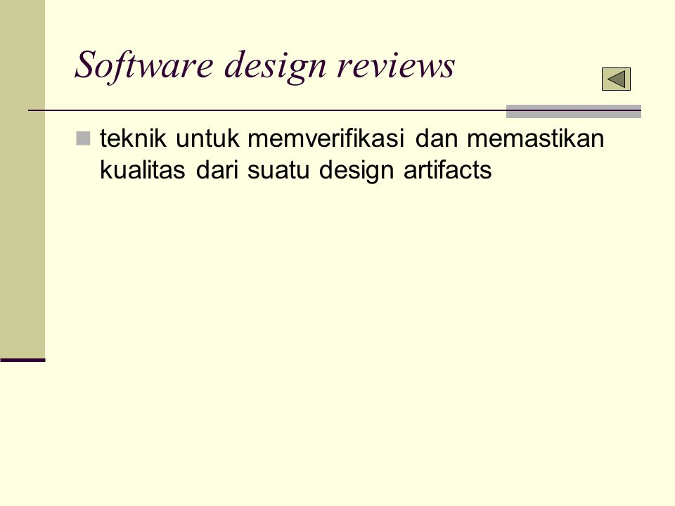 Software design reviews