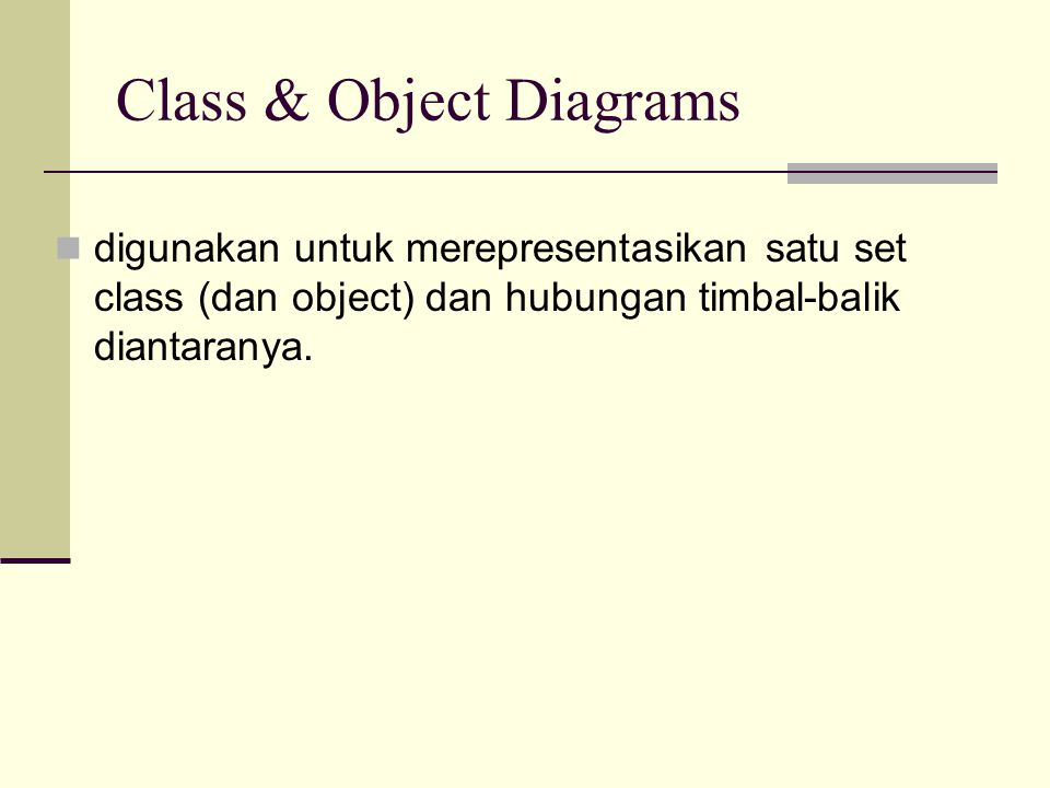 Class & Object Diagrams