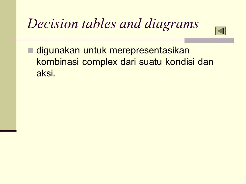 Decision tables and diagrams