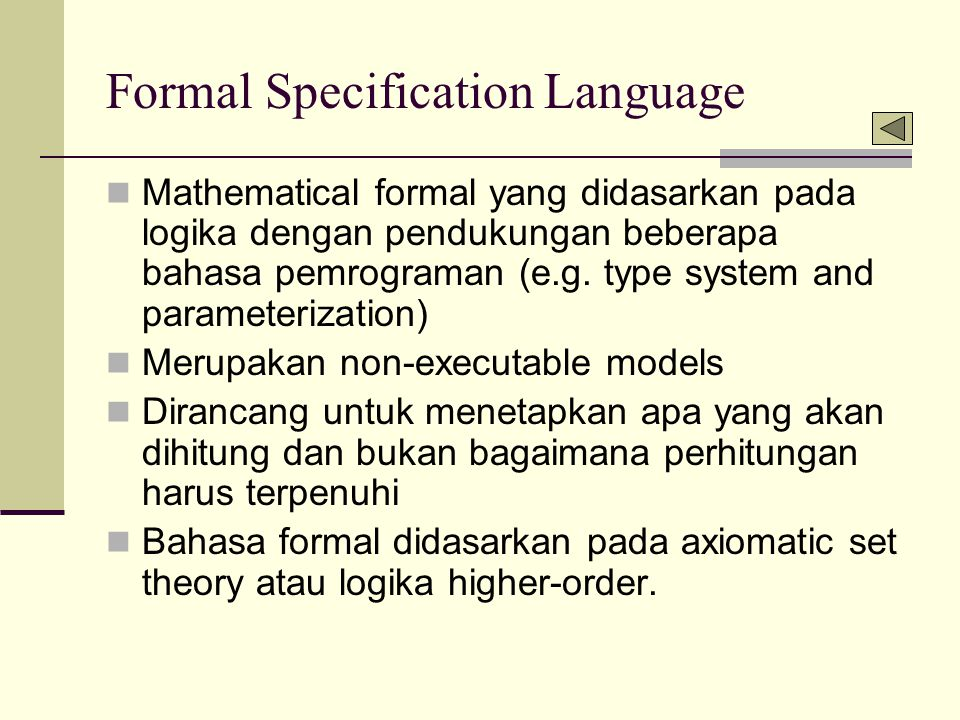 Formal Specification Language