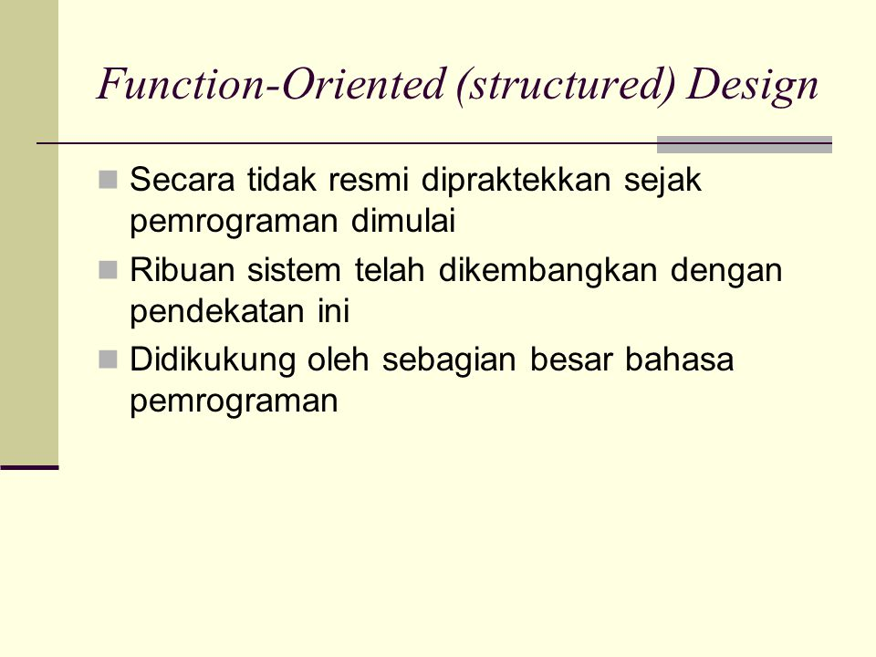 Function-Oriented (structured) Design