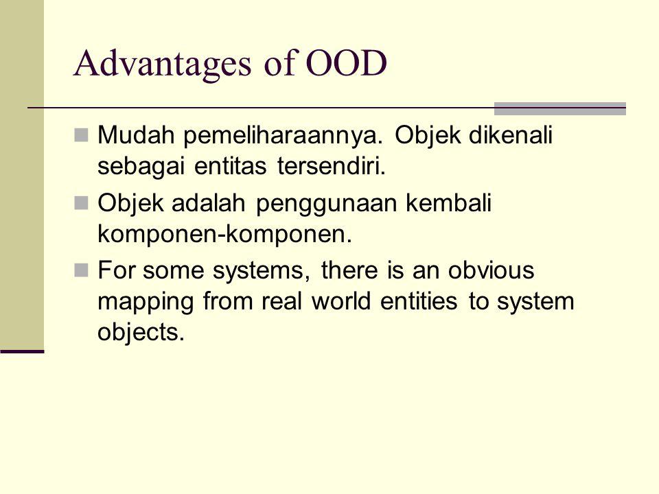Advantages of OOD Mudah pemeliharaannya. Objek dikenali sebagai entitas tersendiri. Objek adalah penggunaan kembali komponen-komponen.