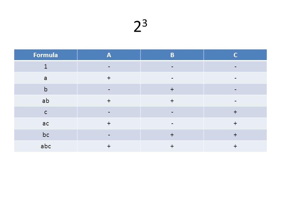 23 Formula A B C 1 - a + b ab c ac bc abc