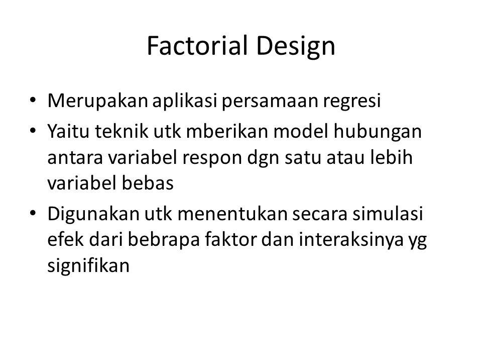 Factorial Design Merupakan aplikasi persamaan regresi