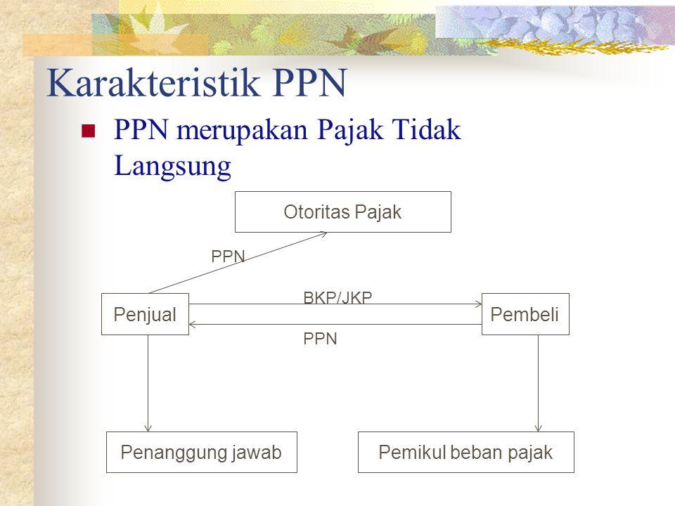 Karakteristik PPN PPN merupakan Pajak Tidak Langsung Penjual