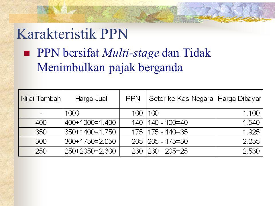 Karakteristik PPN PPN bersifat Multi-stage dan Tidak Menimbulkan pajak berganda