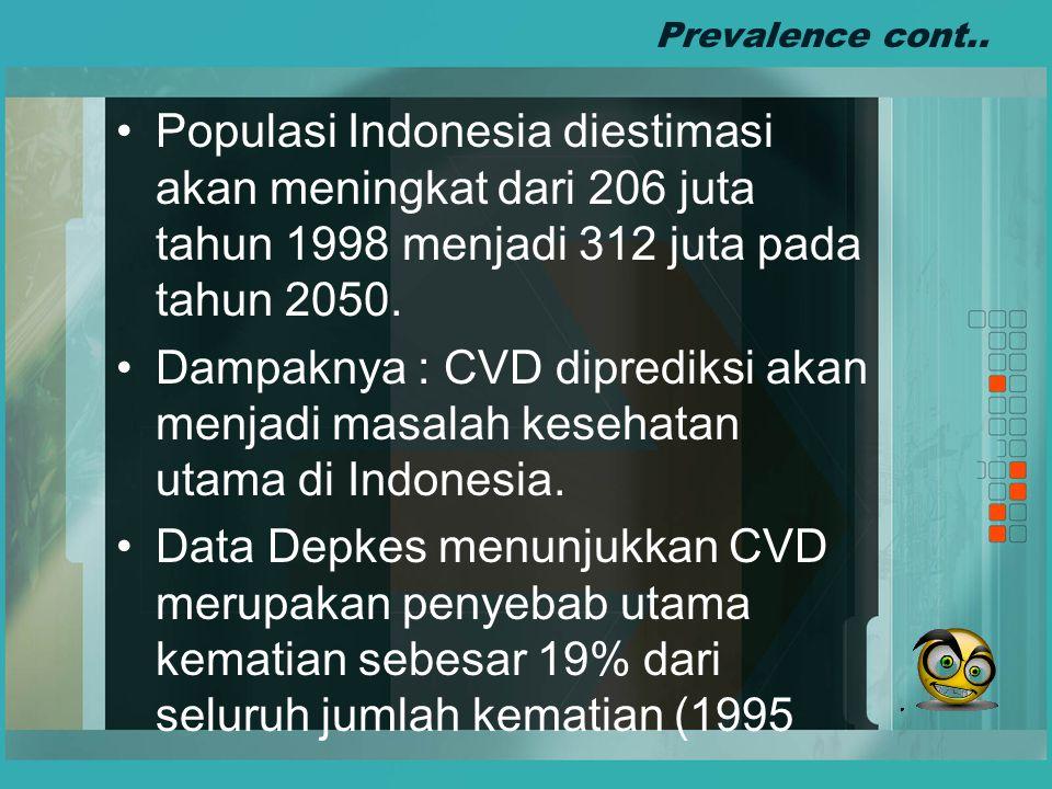 Prevalence cont.. Populasi Indonesia diestimasi akan meningkat dari 206 juta tahun 1998 menjadi 312 juta pada tahun 2050.