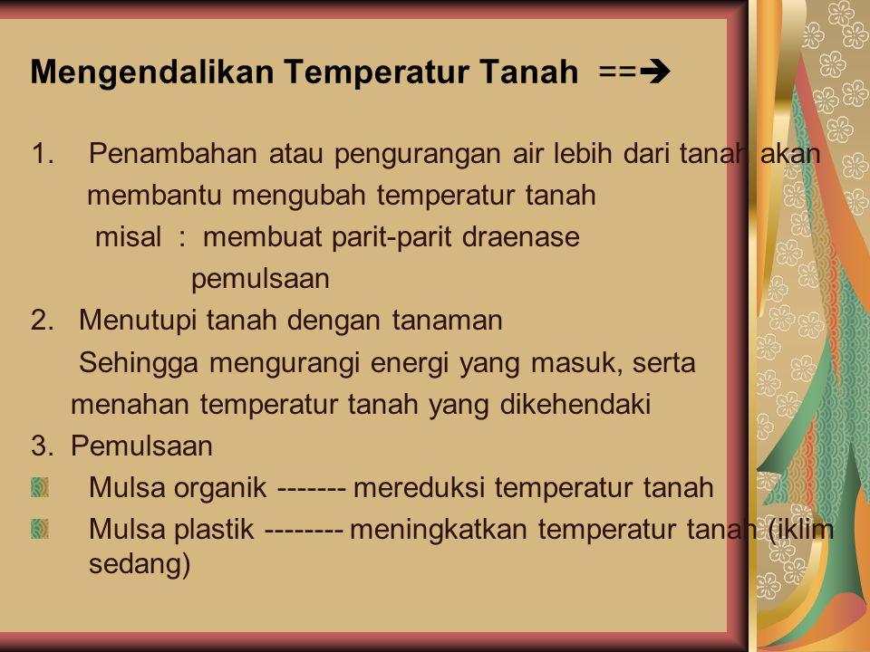 Mengendalikan Temperatur Tanah ==