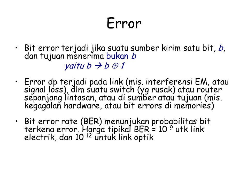 Error Bit error terjadi jika suatu sumber kirim satu bit, b, dan tujuan menerima bukan b. yaitu b  b  1.