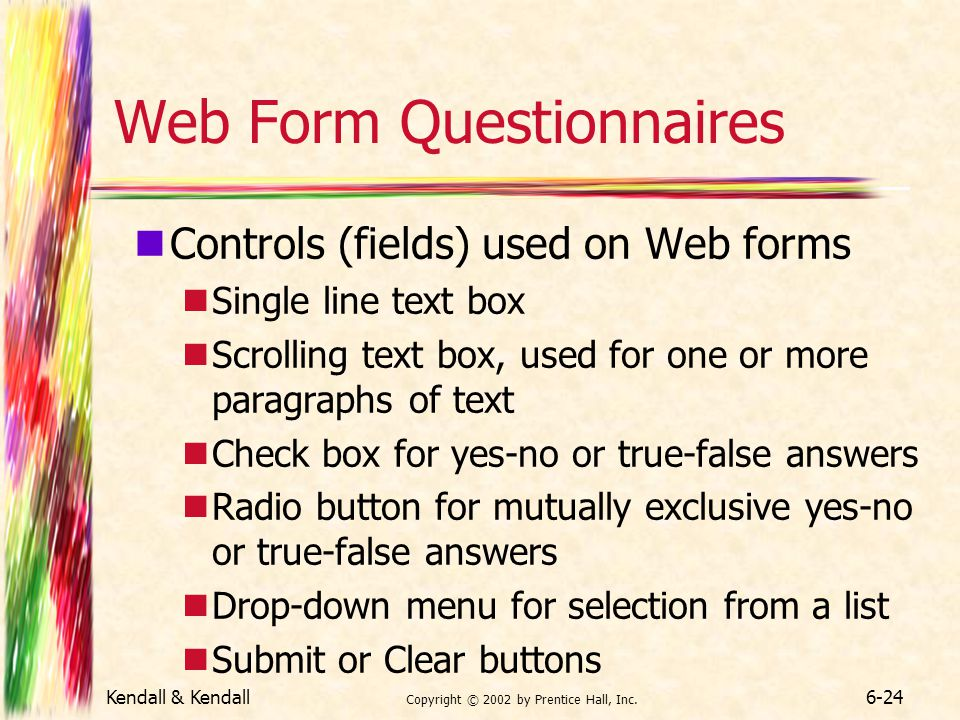 Web Form Questionnaires
