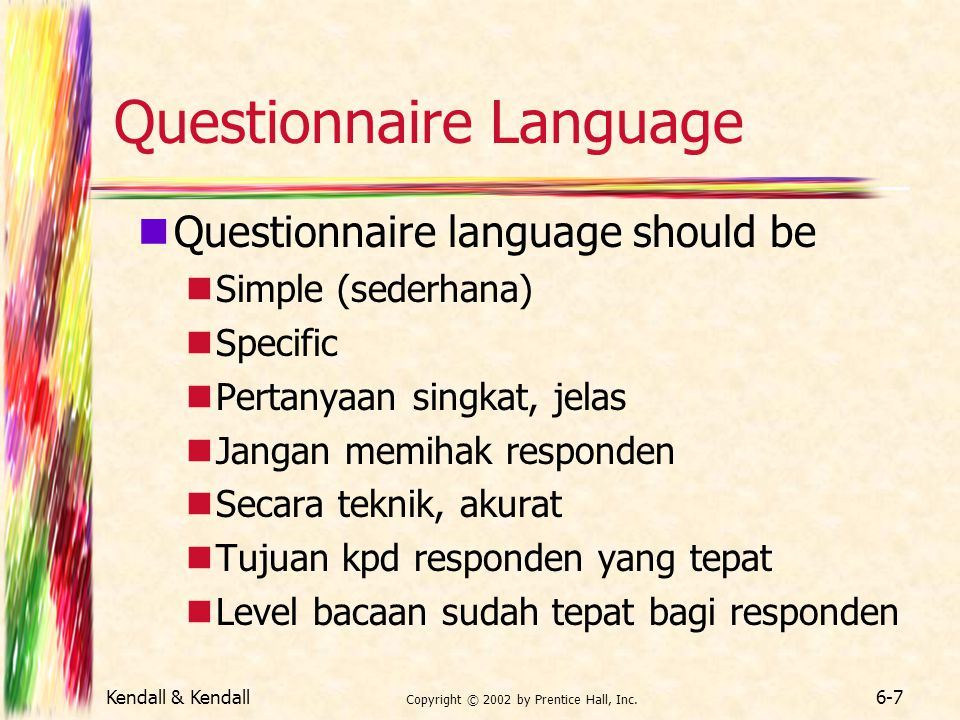 Questionnaire Language