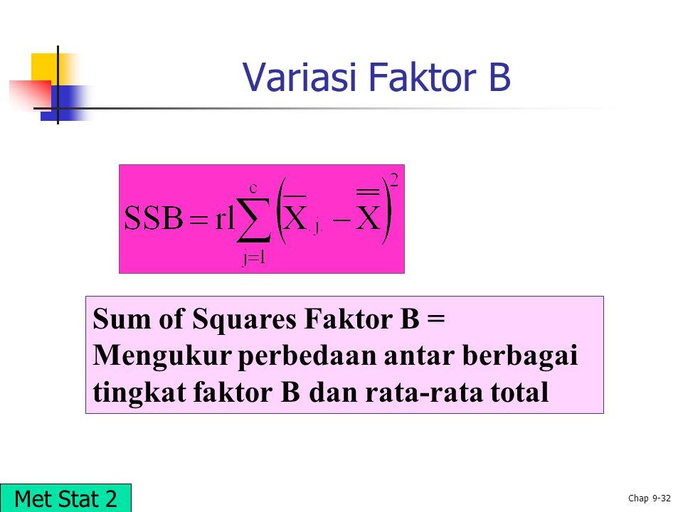 Variasi Faktor B Sum of Squares Faktor B =