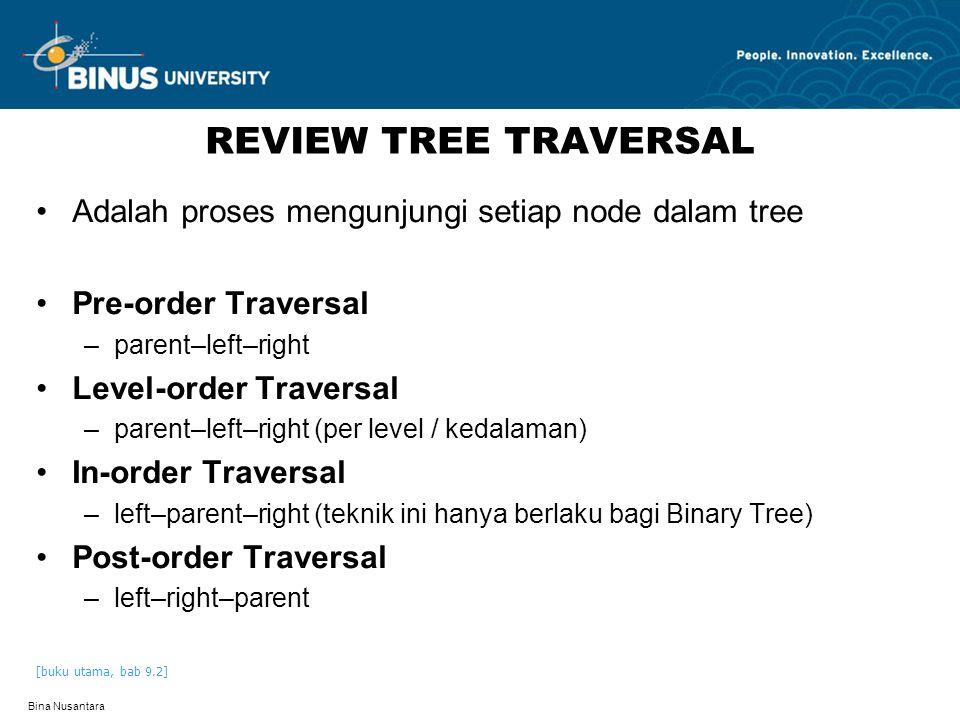 REVIEW TREE TRAVERSAL Adalah proses mengunjungi setiap node dalam tree