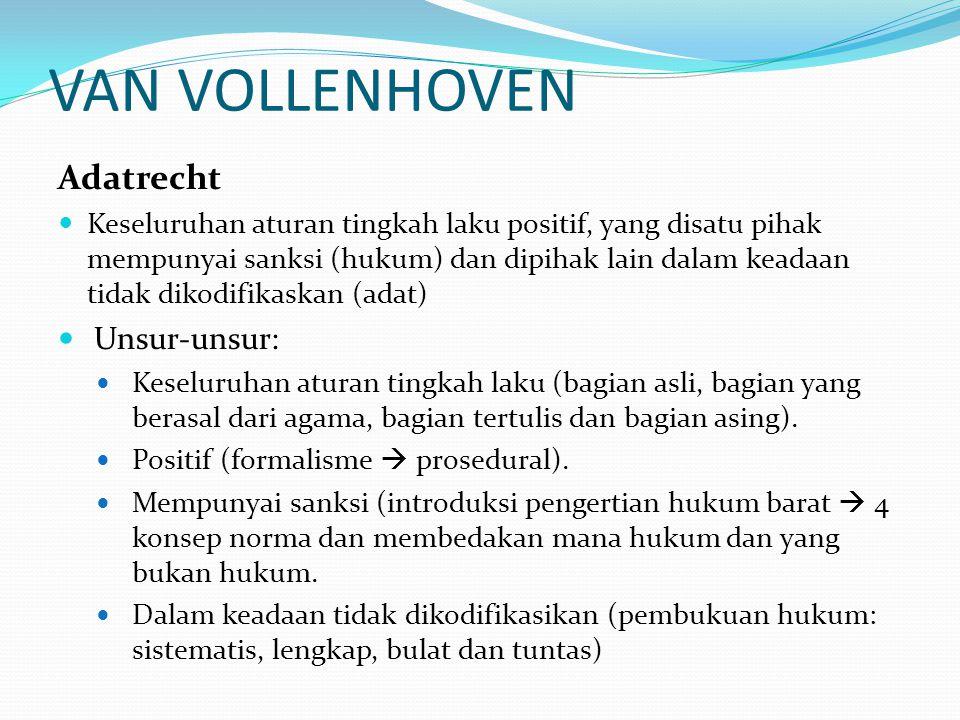 VAN VOLLENHOVEN Adatrecht Unsur-unsur: