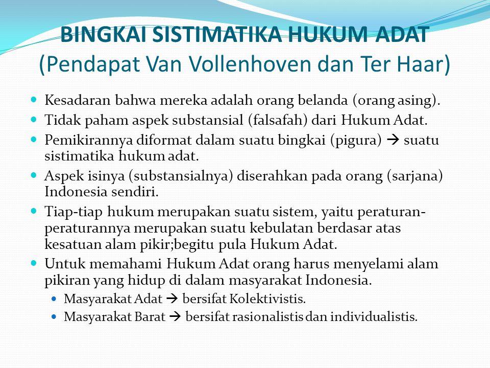 BINGKAI SISTIMATIKA HUKUM ADAT (Pendapat Van Vollenhoven dan Ter Haar)