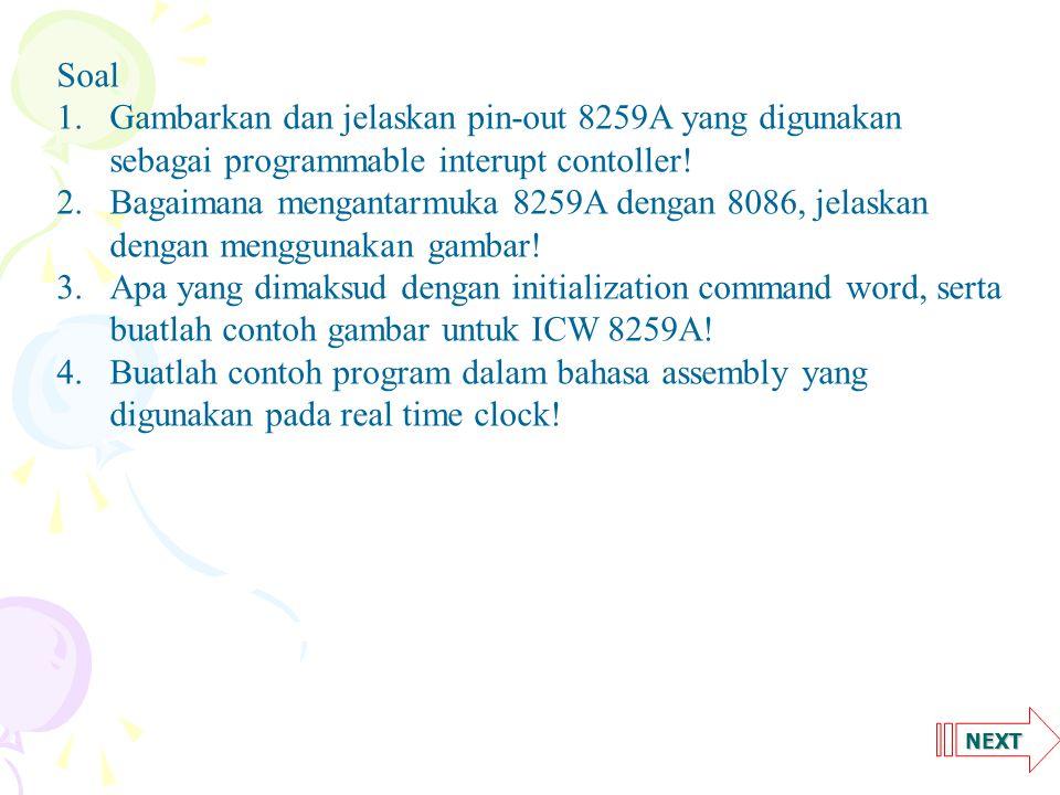 Soal. Gambarkan dan jelaskan pin-out 8259A yang digunakan sebagai programmable interupt contoller!