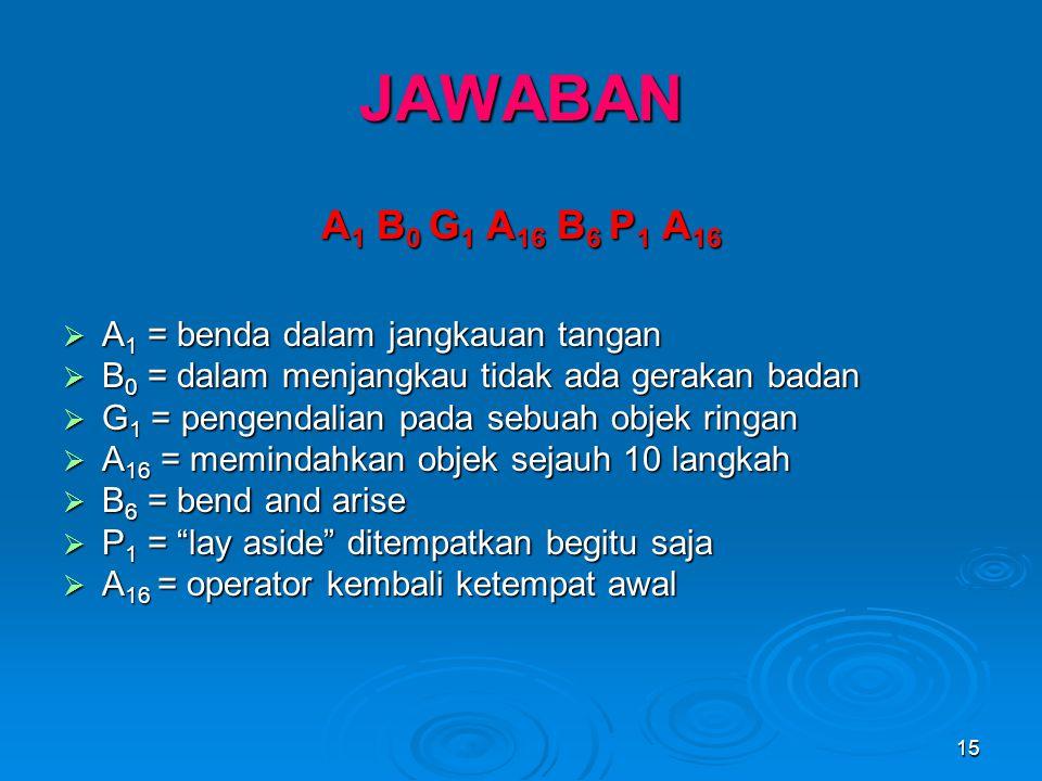JAWABAN A1 B0 G1 A16 B6 P1 A16 A1 = benda dalam jangkauan tangan