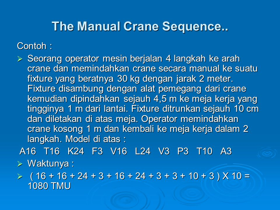 The Manual Crane Sequence..