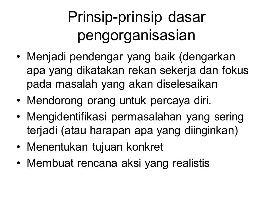 Prinsip-prinsip dasar pengorganisasian