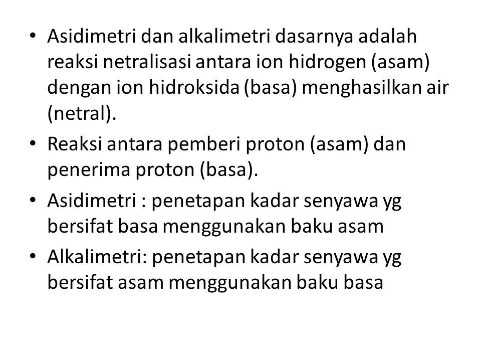 Asidimetri dan alkalimetri dasarnya adalah reaksi netralisasi antara ion hidrogen (asam) dengan ion hidroksida (basa) menghasilkan air (netral).