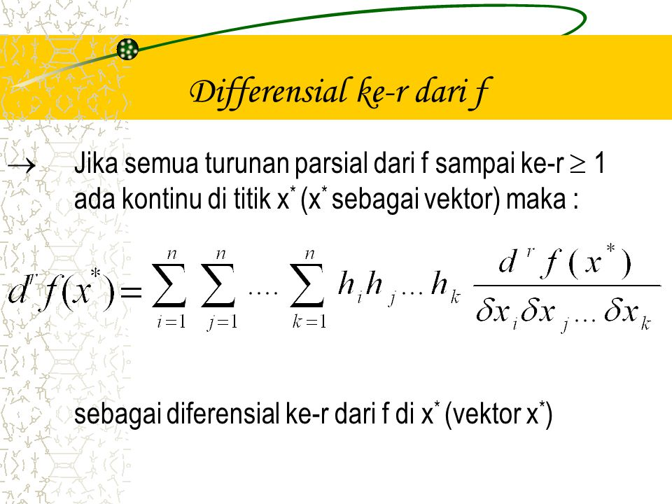 Differensial ke-r dari f