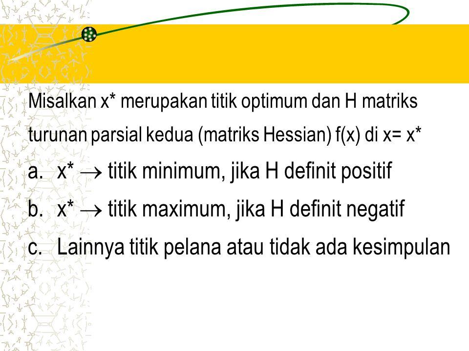 a. x*  titik minimum, jika H definit positif