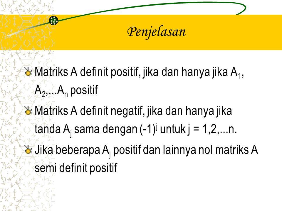 Penjelasan Matriks A definit positif, jika dan hanya jika A1, A2,...An positif.