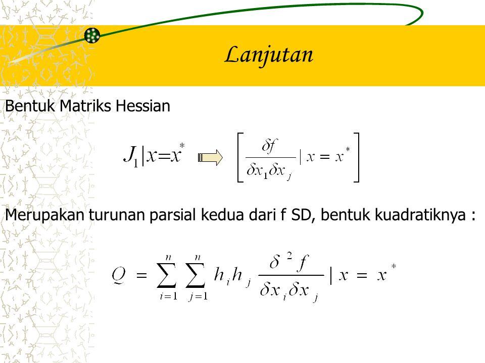 Lanjutan Bentuk Matriks Hessian