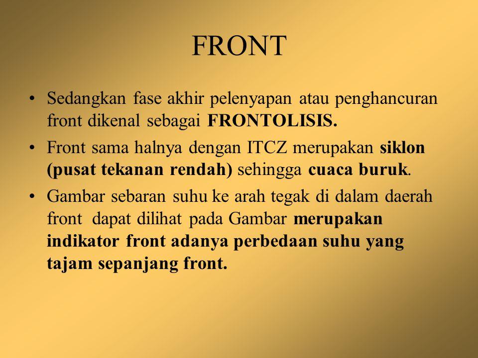 FRONT Sedangkan fase akhir pelenyapan atau penghancuran front dikenal sebagai FRONTOLISIS.