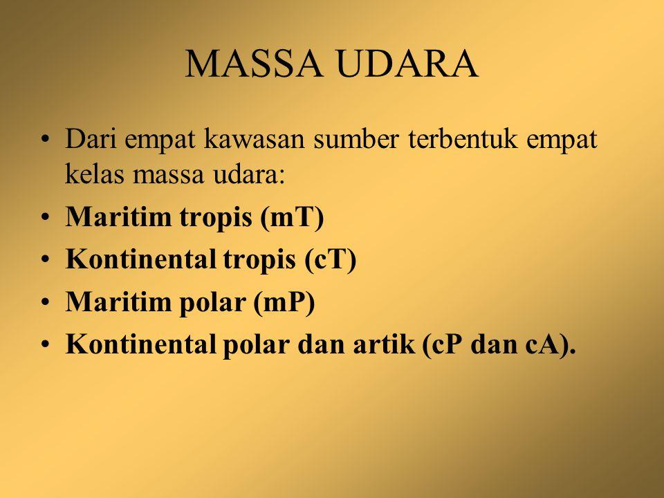 MASSA UDARA Dari empat kawasan sumber terbentuk empat kelas massa udara: Maritim tropis (mT) Kontinental tropis (cT)