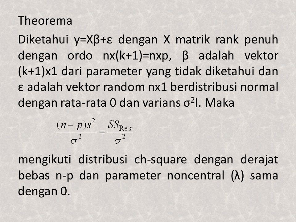 Theorema Diketahui y=Xβ+ε dengan X matrik rank penuh dengan ordo nx(k+1)=nxp, β adalah vektor (k+1)x1 dari parameter yang tidak diketahui dan ε adalah vektor random nx1 berdistribusi normal dengan rata-rata 0 dan varians σ2I.
