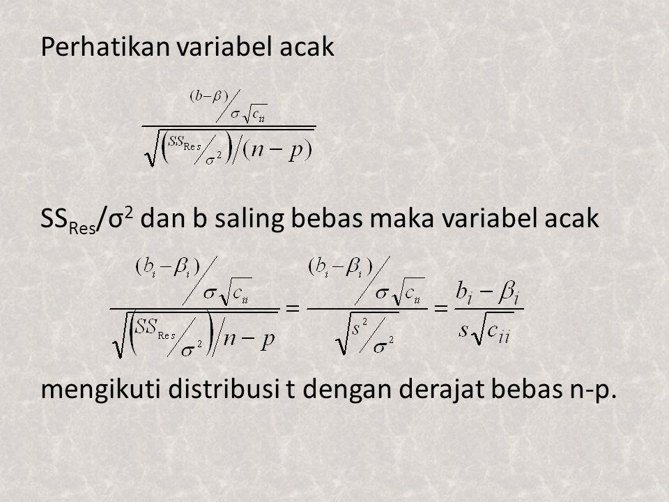 Perhatikan variabel acak SSRes/σ2 dan b saling bebas maka variabel acak mengikuti distribusi t dengan derajat bebas n-p.