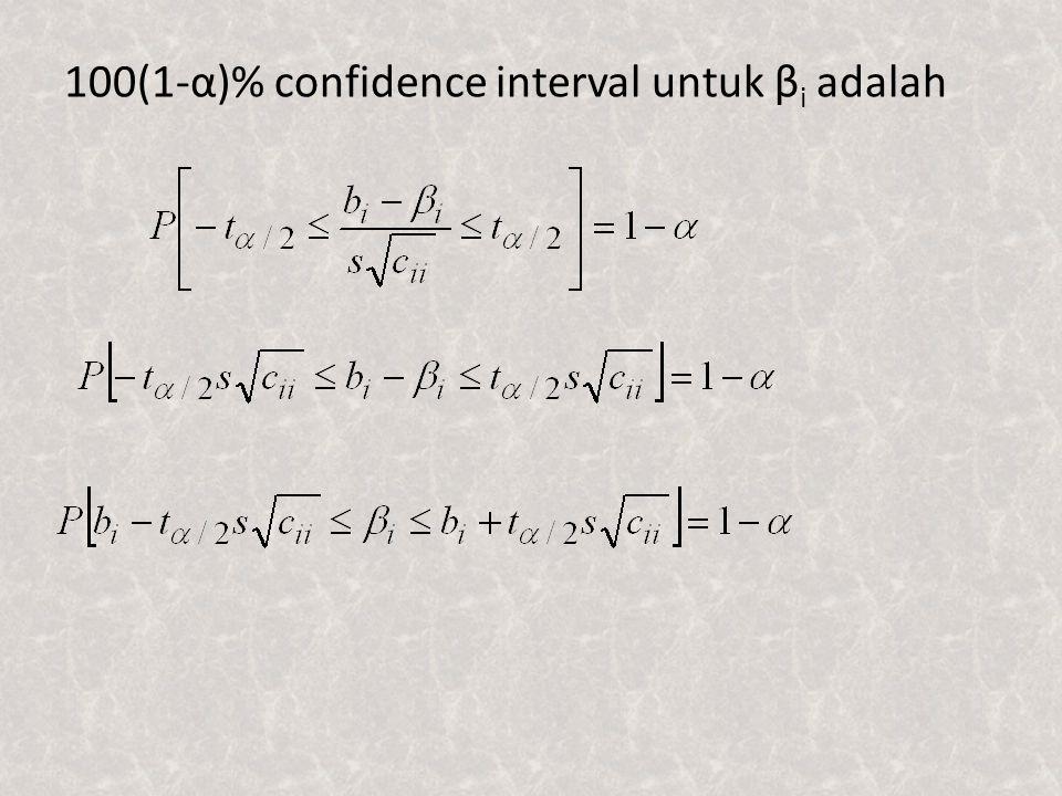 100(1-α)% confidence interval untuk βi adalah